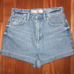 Topshop High Waisted Mom Denim Shorts - US4